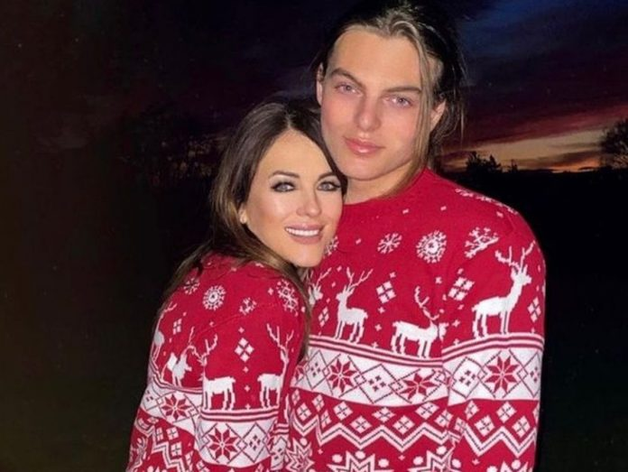 Elizabeth Hurley And Damian Hurley Twin In Matching Christmas Sweaters
