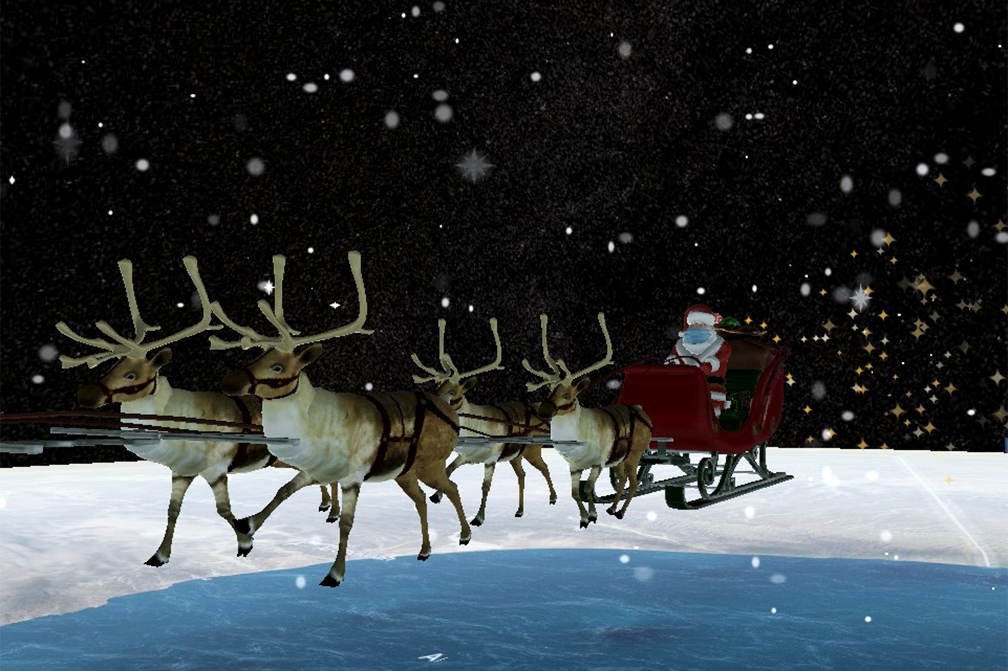2020 Santa tracker is being COVID safe sporting mask