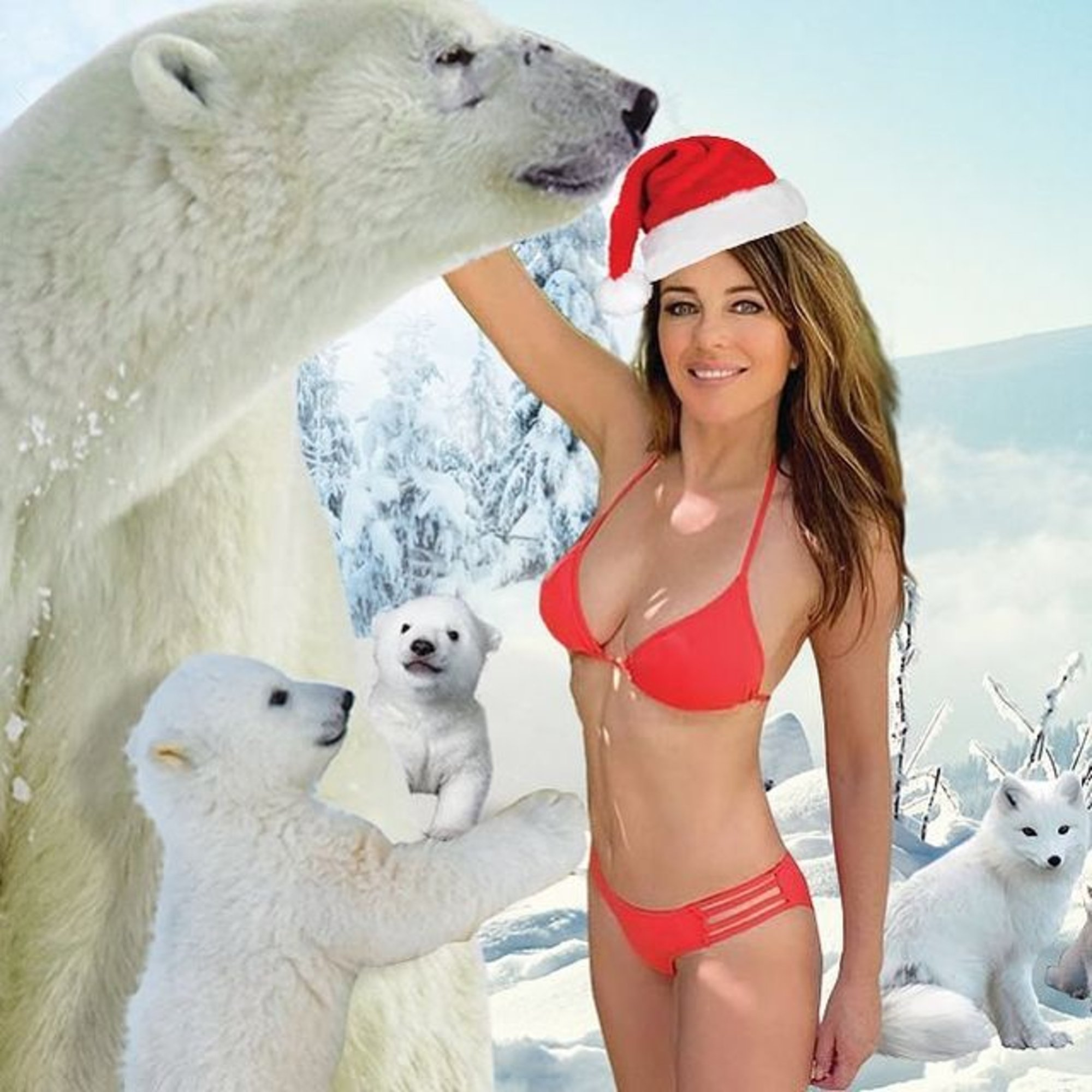 Elizabeth Hurley Poses In A Red Bikini And Puts Her