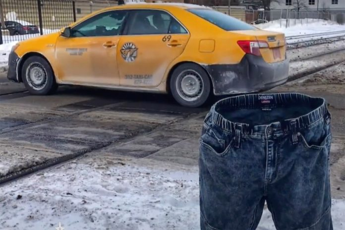 Man freezes his jeans to 'reserve' parking spots