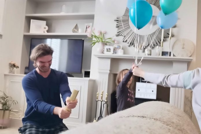 Dad blasted in baby-maker in hilarious gender reveal fail