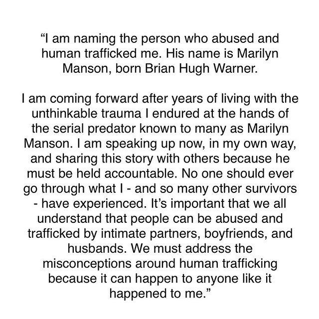 Esme Bianco Says Marilyn Manson Human Trafficked Her Has Spoken