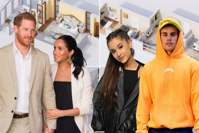 Inside the celebrity bedrooms of Meghan and Harry, Ariana, more
