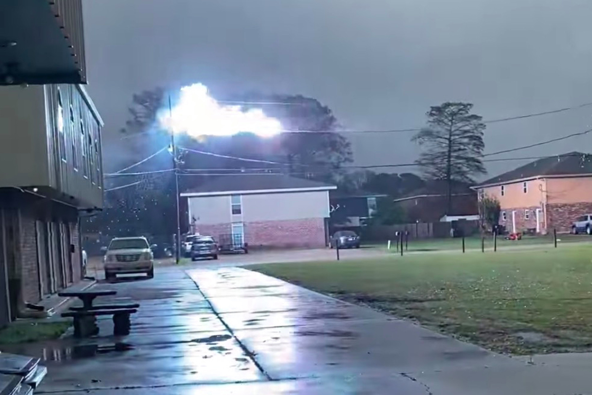Shocking footage shows fireballs zipping along frozen power line