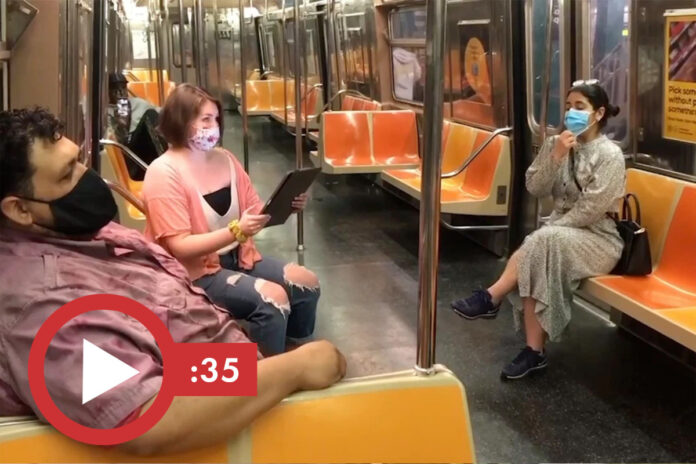 Masked opera singers deliver moving performance on NYC subway